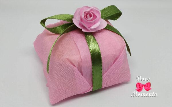 Bem casado rosa e verde folha